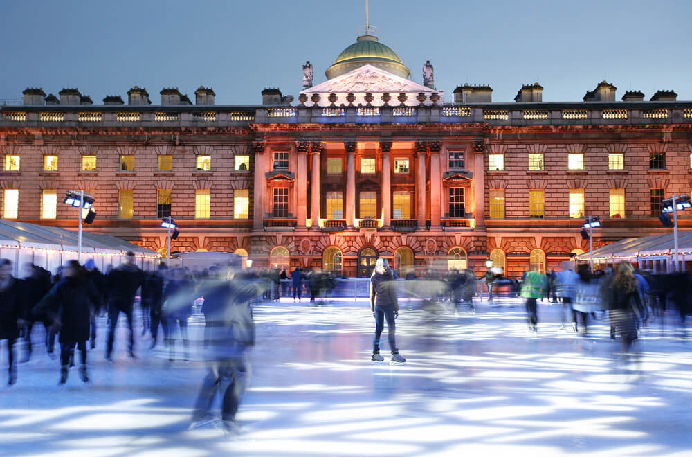 Night View of Somerset House ice rink in Strand, London.